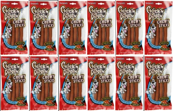 Sergeants Chick'N Dippin' Brown Rice & Chicken Chew Sticks case 12 front view