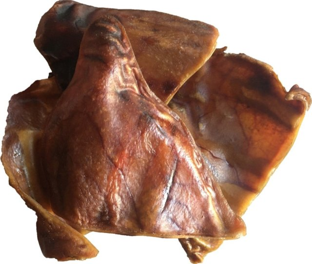 smoked pig ears front view