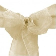 TC108 Organza Sash Chair Cover Beige