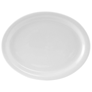 "13 1/8 x 10 1/8"" White Oval Platter, Porcelain Fully Vitrified & Oven Proof"