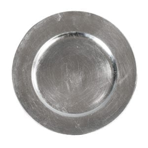 silver round charger plate 13′