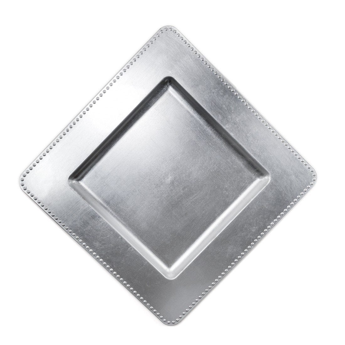 silver square charger plate 13′