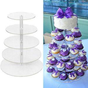 Tier Clear Acrylic Round Cupcake Stand – Wedding Birthday Cake Display Tower