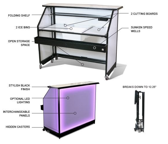 standard portable bar features