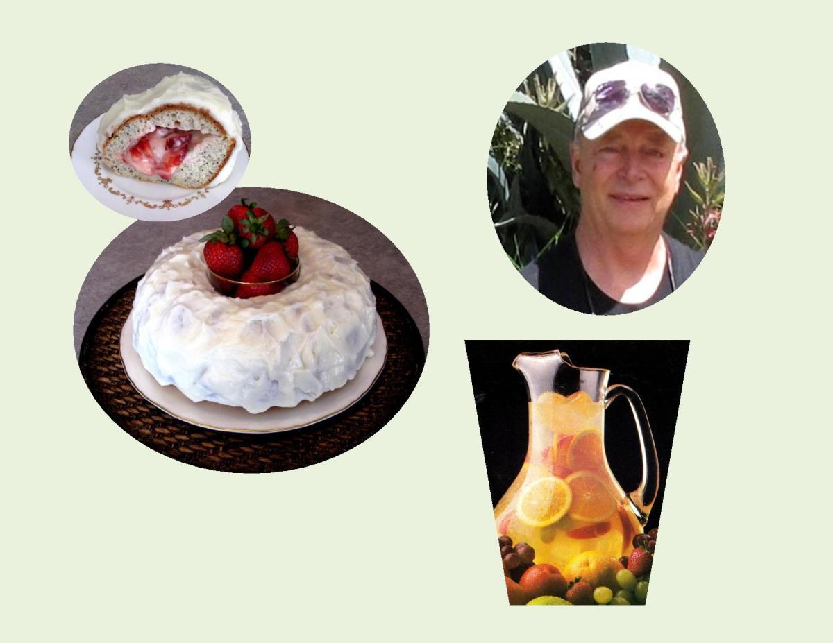 Strawberry-Lemon Poppy Seed Cake  with White Wine Sangria