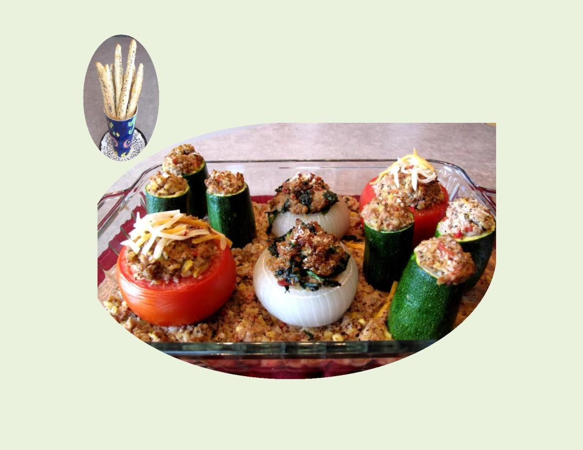 Stuffed Summer Vegetables                                                                                           with Herb / Cheese Bread Sticks