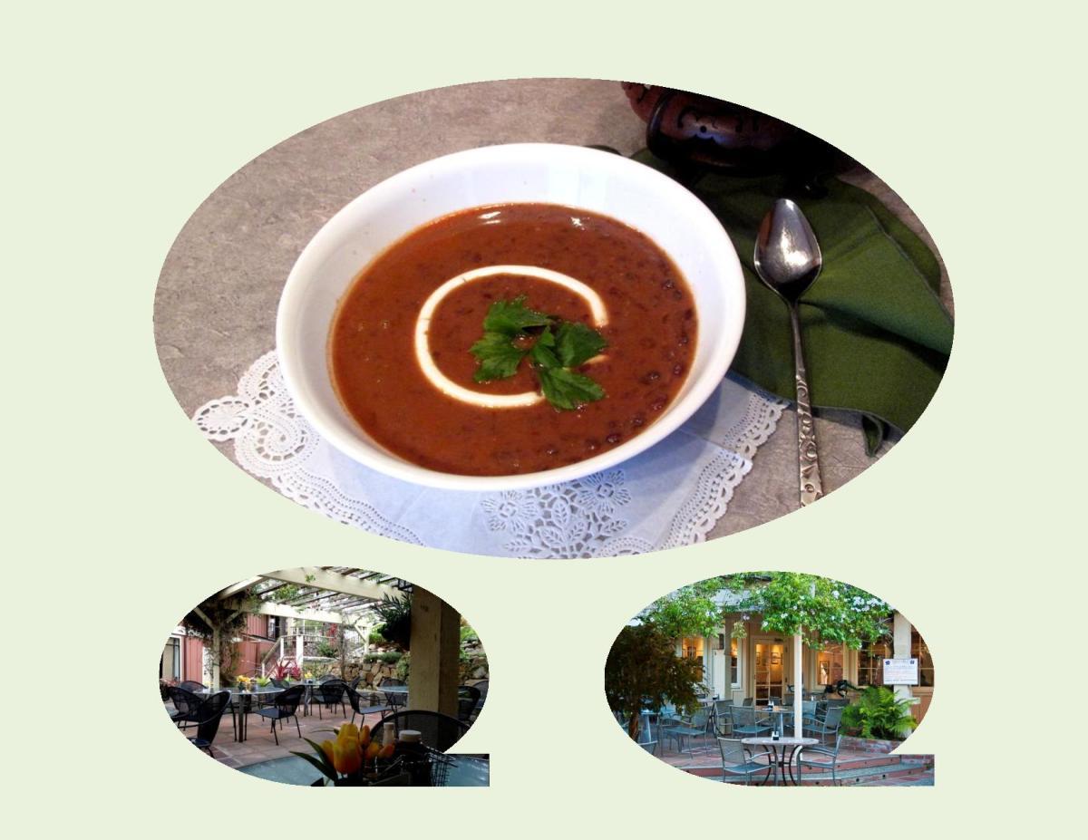 Black Bean Soup with Thai Chicken Rolls