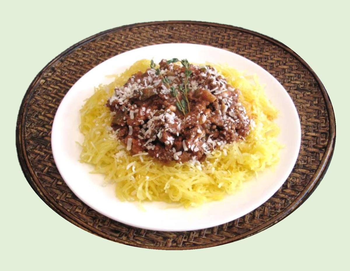 Vegetable Spaghetti (Squash) with Beef & Tomatoes