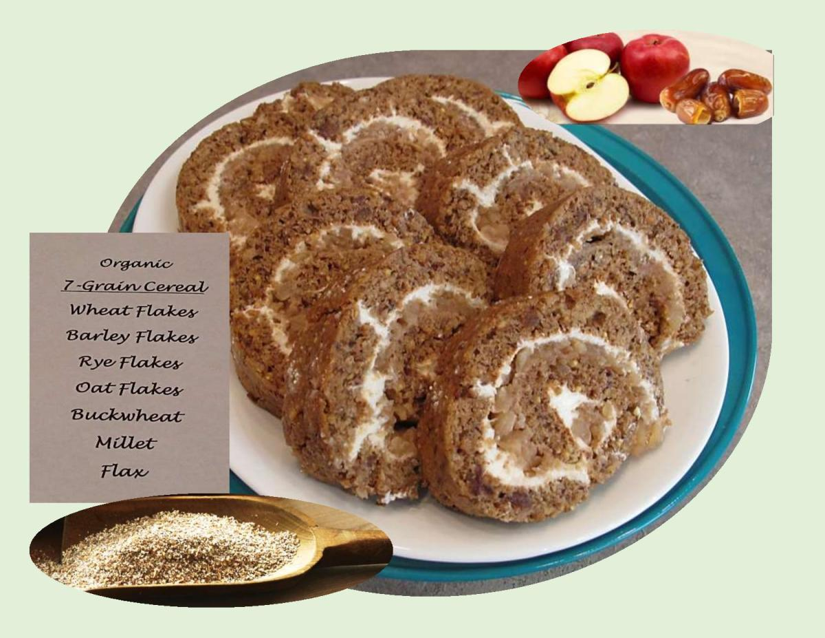 Seven Grain Date Roll Cake with Apple Cream Cheese