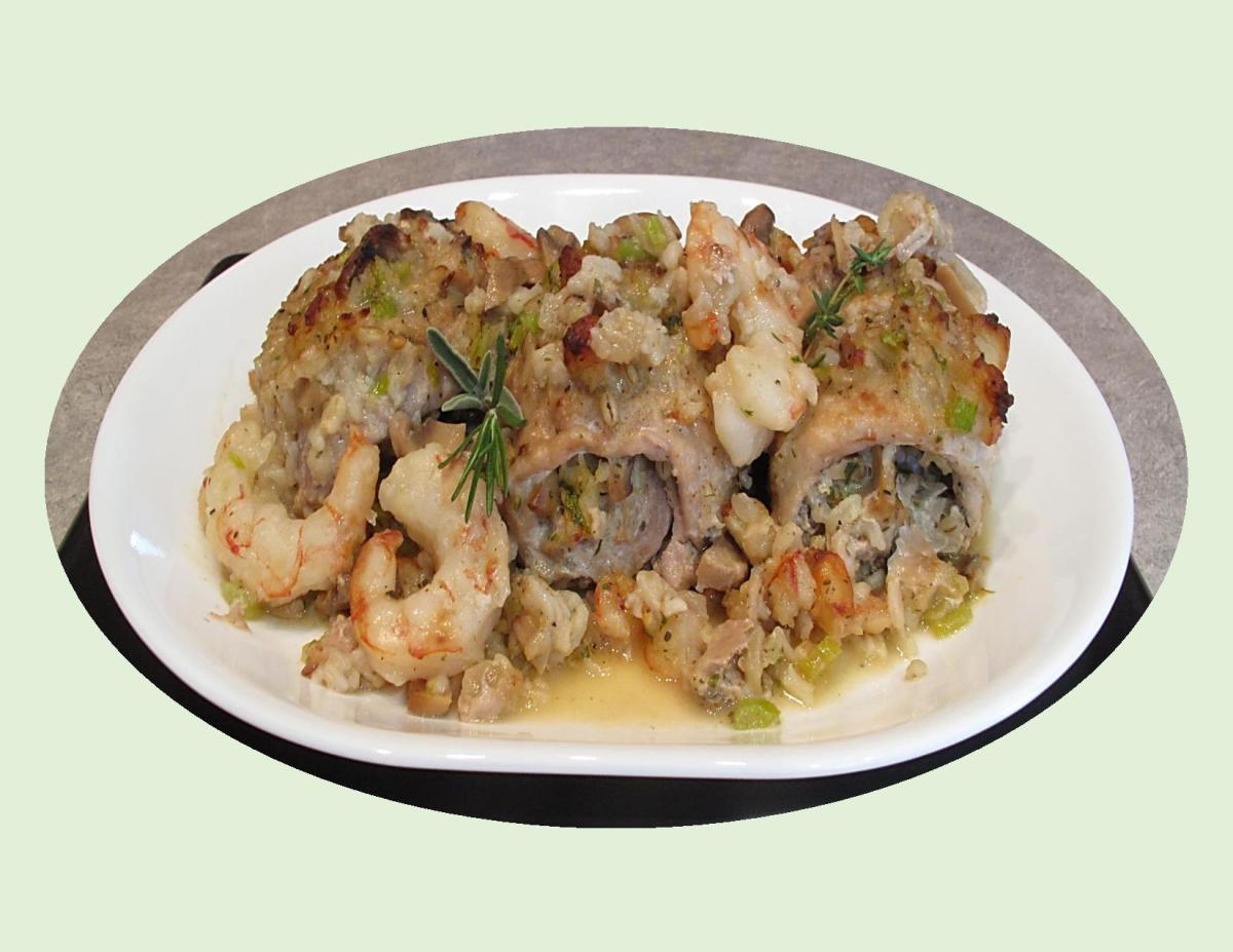 Pork Rolls w/ Seafood Stuffing