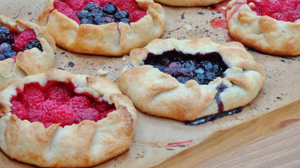 Baked galettes on tray