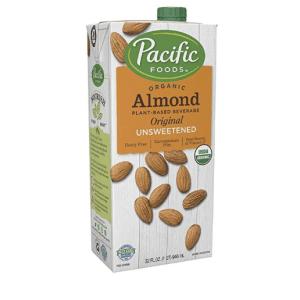 Pacific Foods Organic Original Almond Milk,Unsweetened,32 Oz,2 Pac