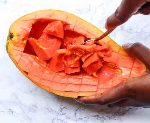Cut papaya cubes