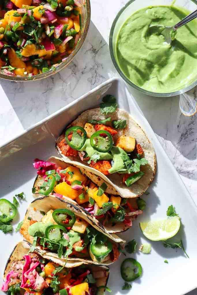 homemade salsa and tacos