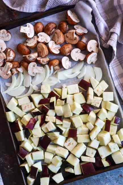Roasted eggplant for meatballs