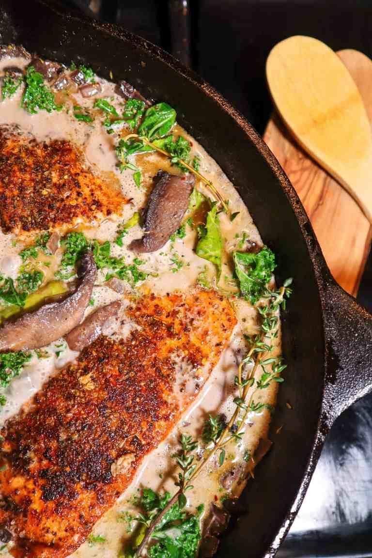 Blackened Salmon with Creamy Mushroom Sauce