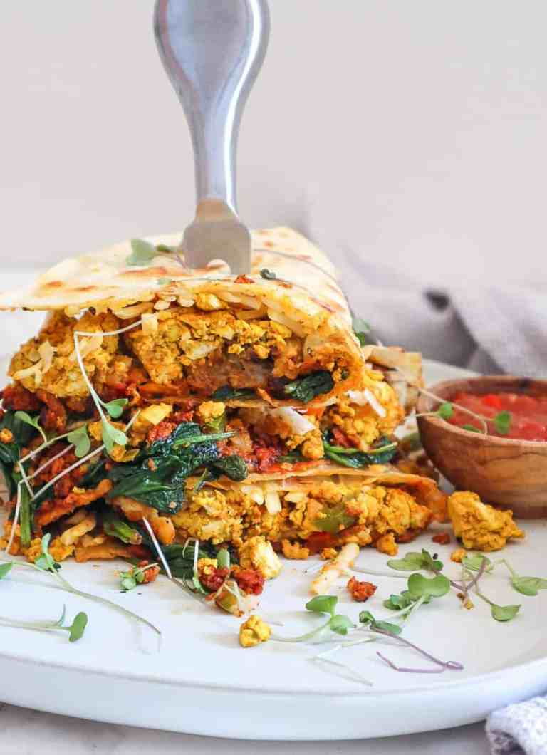 easy vegan breakfast quesadilla