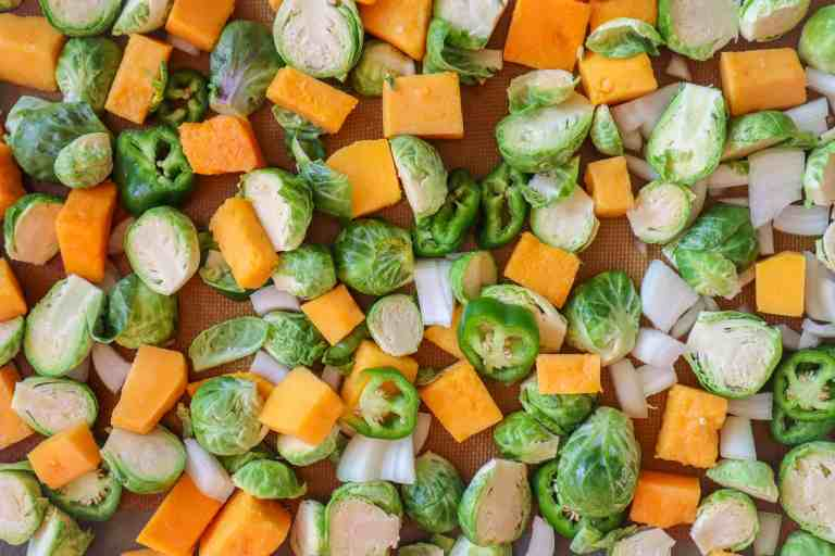 raw sliced brussels sprouts and butternut squash