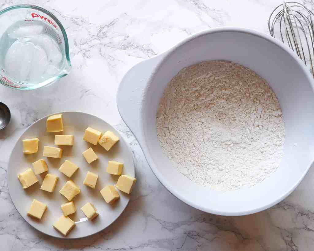 butter, flour, and water to make gluten-free dough