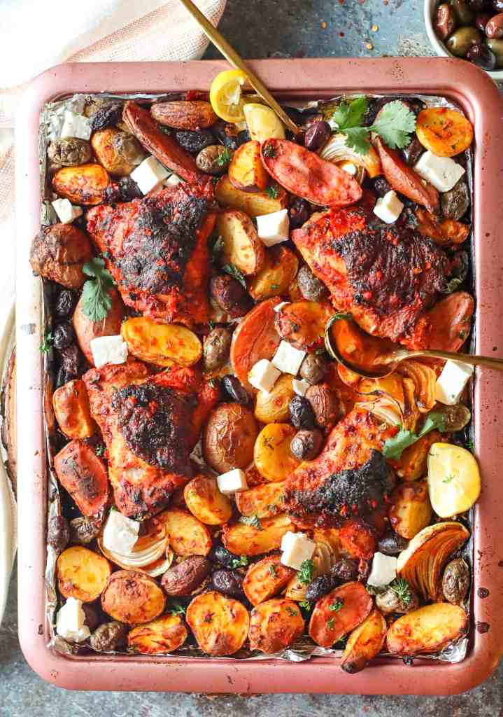 Sheet Pan Chicken Harissa Dish with Potatoes, Olives, and Feta Cheese