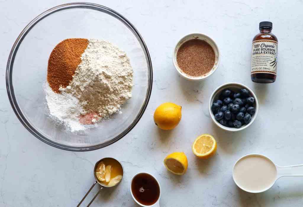 Ingredients to make Gluten Free Vegan Baked Blueberry Donuts