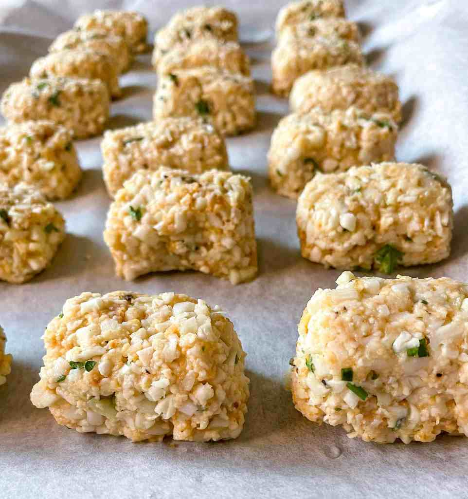 Close up of cauliflower tots before cooking