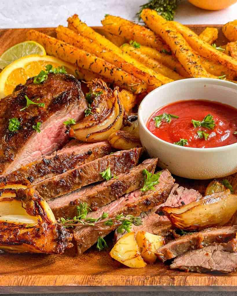 tender flavorful carne asada with polenta fries