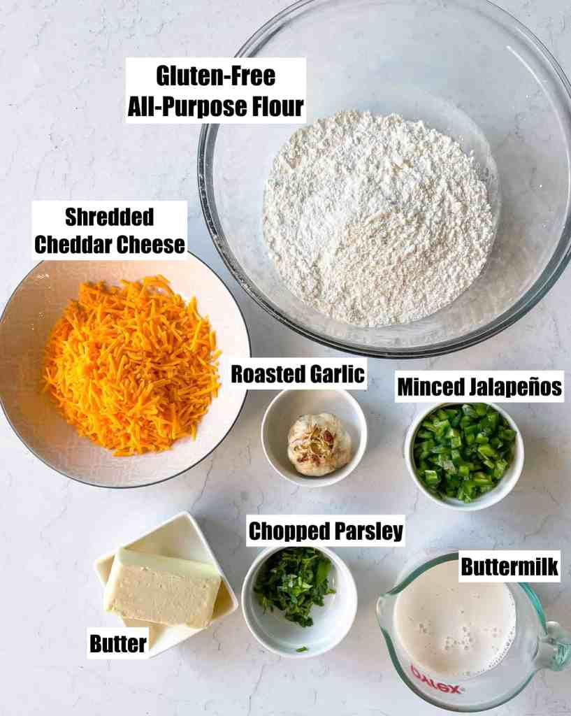 ingredients to make Gluten Free Jalapeno Cheddar Biscuits