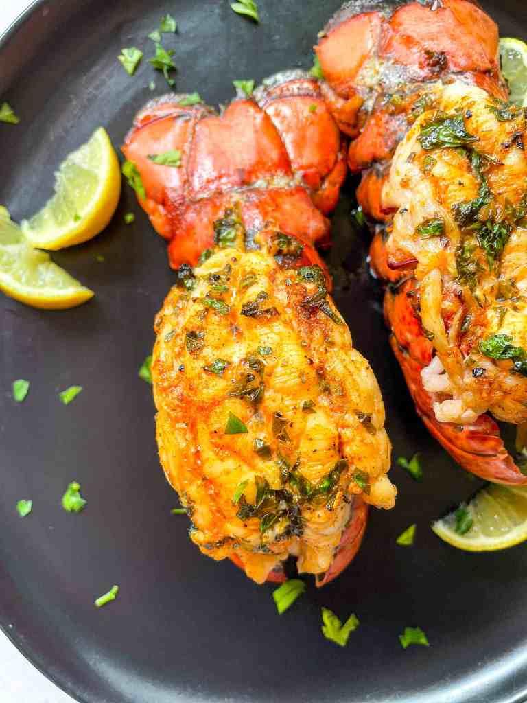Air Fryer Lobster With Lemon Garlic Butter Sauce