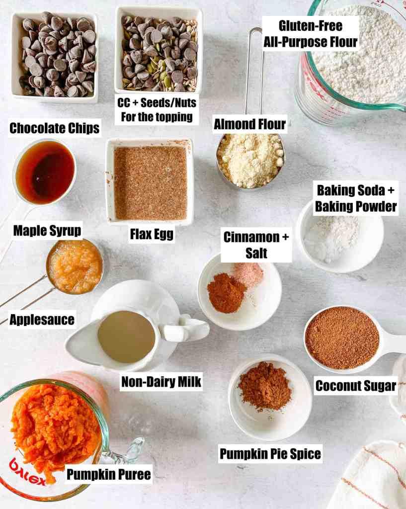 ingredients to make gluten free pumpkin chocolate chip bread