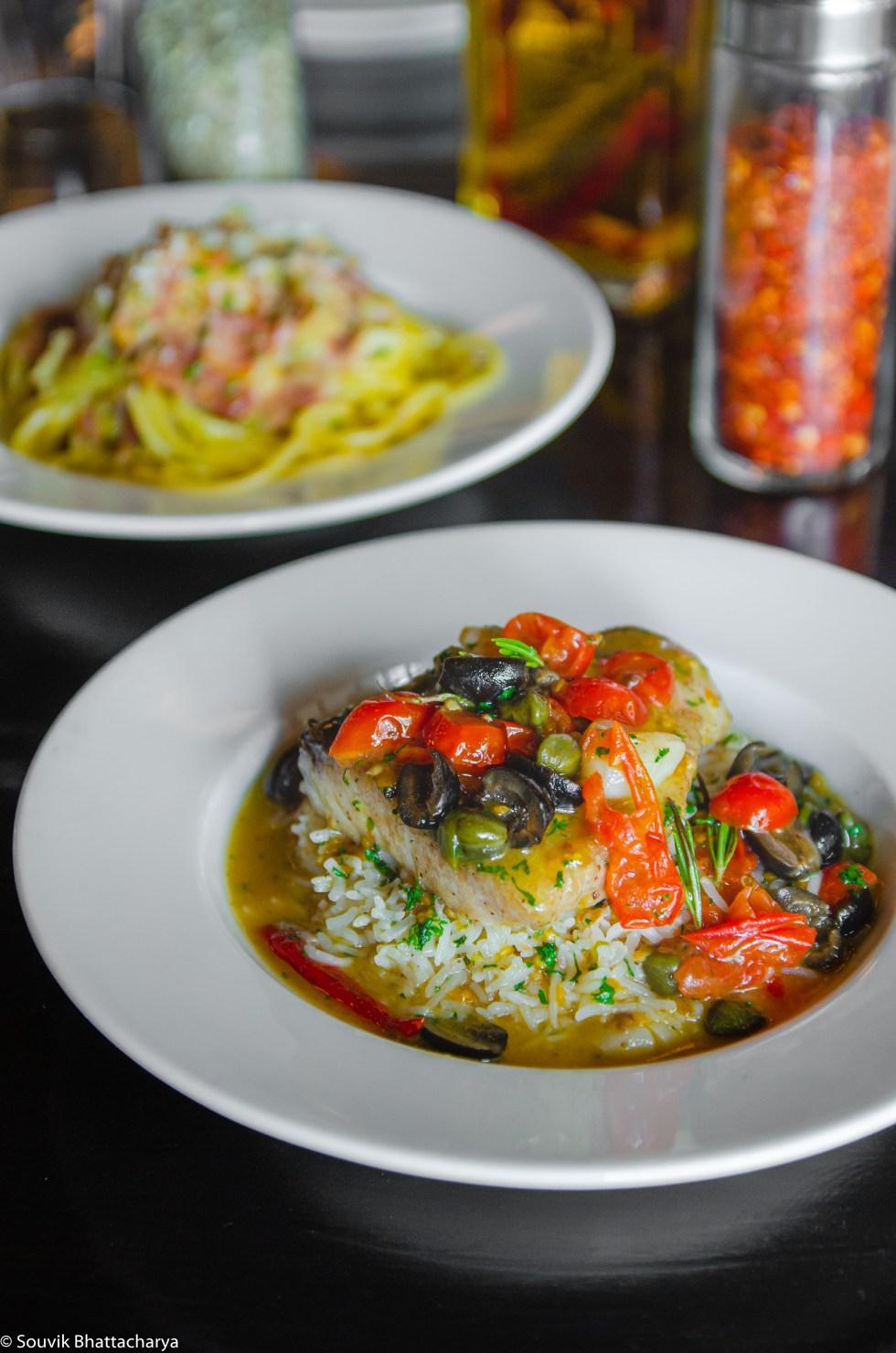 Pesce Al Forno is a fish preparation where bhetki (barramundi)
