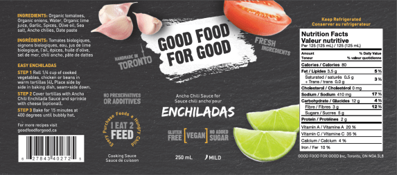 Good Food for Good Ancho Chile Enchilada Sauce - Fresh Mexican Sauce - Ingredients Nutrion Facts Label