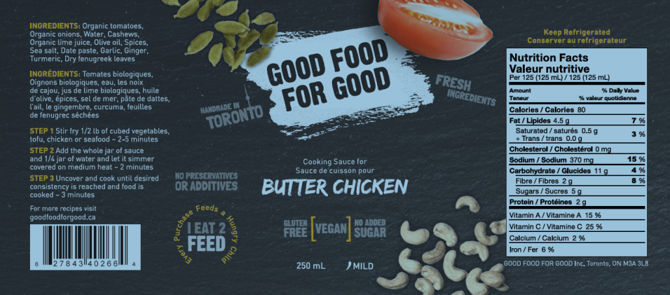 Good Food for Good Butter Chicken Fresh Indian Sauce - Ingredients Nutrion Facts Label