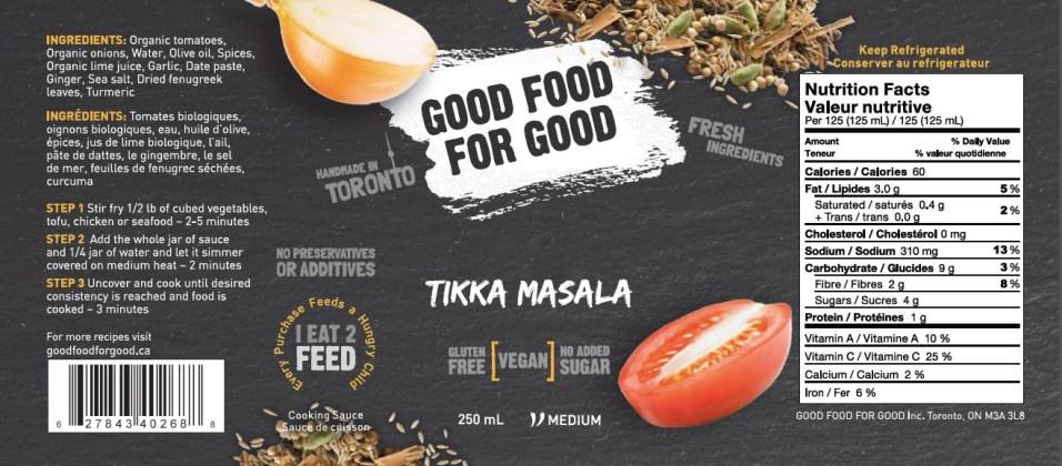 Good Food for Good Tikka Masala Fresh Indian Sauce - Ingredients Nutrion Facts