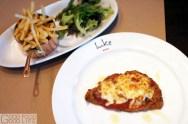 chicken parmigiana, mix leaf salad, french fries