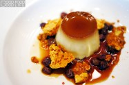 creme caramel, honeycomb, saltanas in red wine syrup