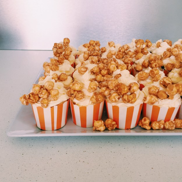 GoodFoodWeek's chocolate cupcakes with vanilla buttercream and salted caramel popcorn