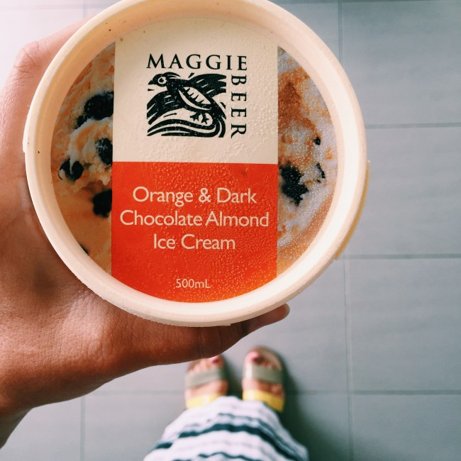 Maggie Beer's Orange and Dark Chocolate Almond Ice cream