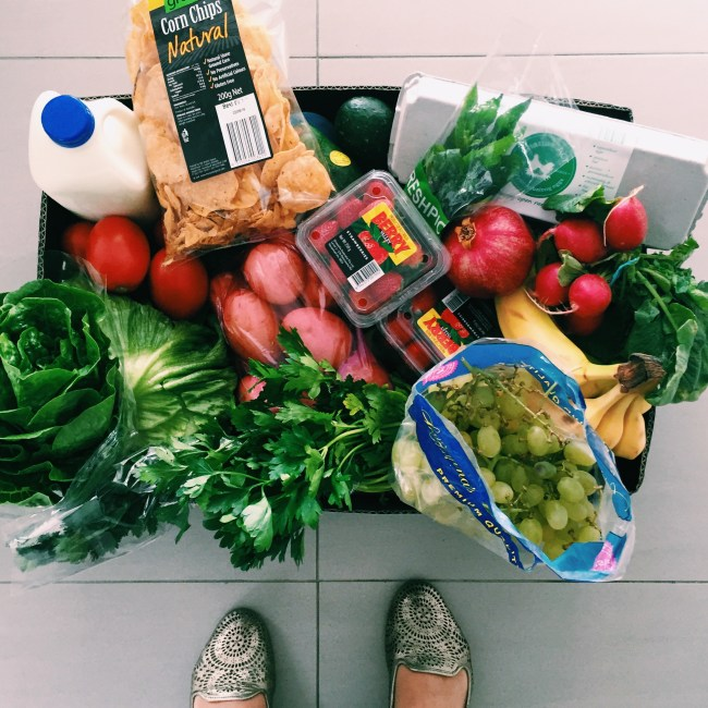 A box of produce from Belconnen Markets