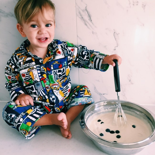The Little Dude helping me to make pancakes