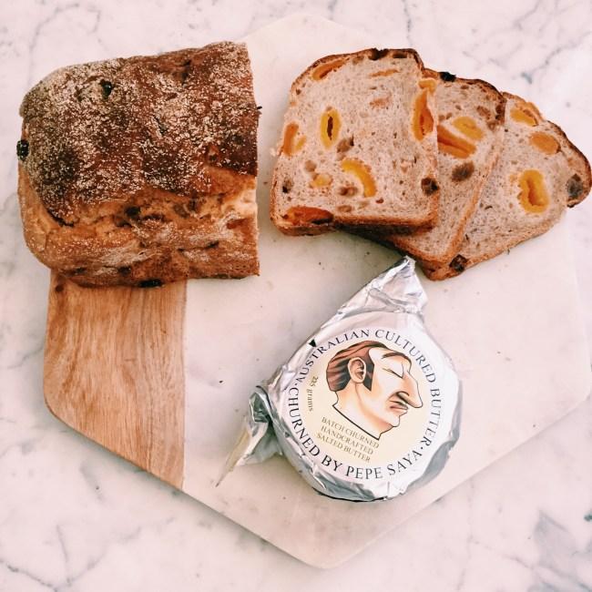 St Malo's bakery fruit sourdough and Pepe Saya butter