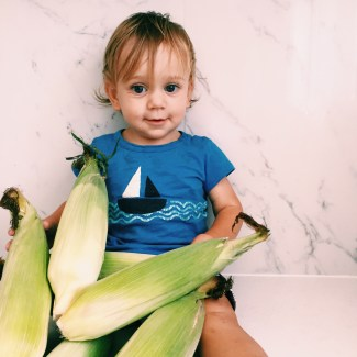 The Little Dude with corn