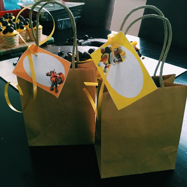 Construction pup themed party bags