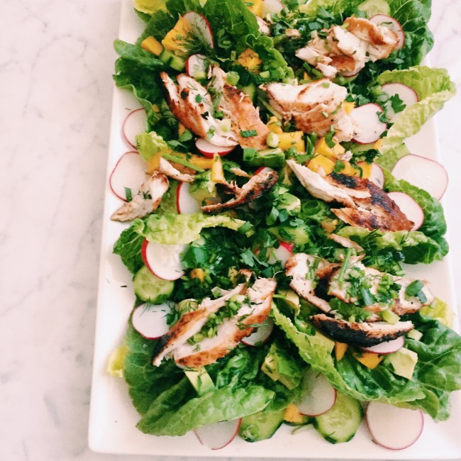 GoodFoodWeek's chicken and mango salad in lettuce cups