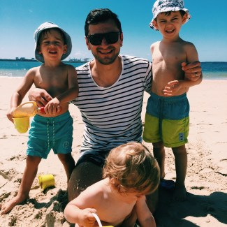 Mr GoodFoodWeek, Mr Moo, The Little Dude and Z man down at the beach