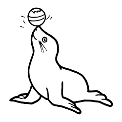 Seal with Ball on Nose vector clipart image Free stock photo Public Domain photo CC0 Images