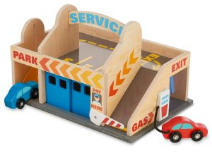 Pretend Play Parking Garage Toy Set with cars, gas pump, gate and more. Great kids toy.