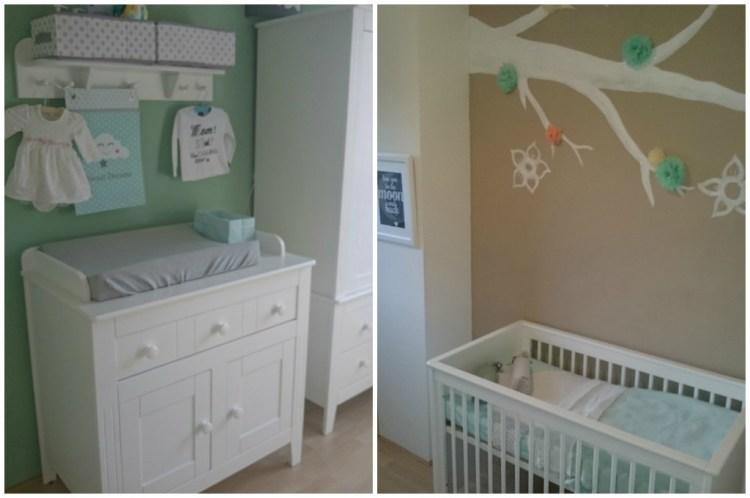 Babykamer mintgroen-Babypark Kesteren-Sproet en Sprout-mintgroene spullen babykamer-GoodGirlsCompany-muurschildering met paper pom poms