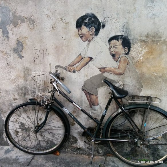 """Little Children on a Bicycle"" mural at Armenian Street, Georgetown, Penang."