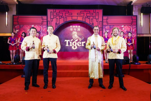 LTR -MT photo op - Andrew Woon (Sales Director), Szilard Voros (Finance Director), Hans Essaadi (Managing Director), Jiri Rakosnik (Marketing Director) during Tiger CNY 2018 Media Launch